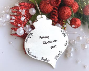Personalized Christmas ornaments, Family Ornament, Custom Christmas Ornament, Hand Stamped Ornament, Custom Family Ornament
