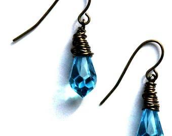 Blue Black Earrings / Blue Crystals / Blue Crystal Chandelier Earrings / Black Oxidized Wire Wrap Earrings Vibrant Blue Swarovski Crystals