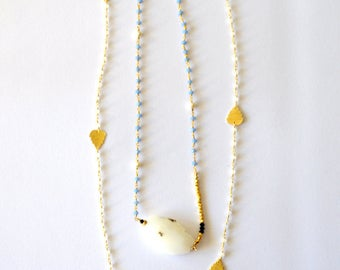 2 Strand Necklace / 14k Gold Filled and Vermeil Gold Double Layer Necklace Lapis Quartz Gemstones Freshwater Pearls and Swarovski Crystals
