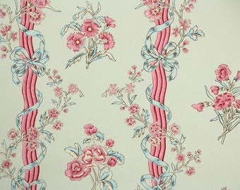 1950s Vintage Wallpaper by the Yard - Nancy McClelland - Floral Wallpaper with Pink and Blue Flowers and Ribbons