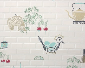 1950s Vintage Wallpaper by the Yard - Mid Century Wire Chicken Blue Eggs and Red Beets