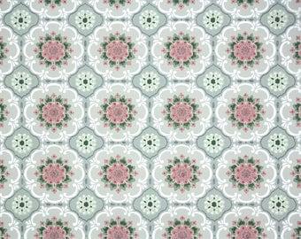 1940s Vintage Wallpaper by the Yard - Pink Green White Snowflake Geometric