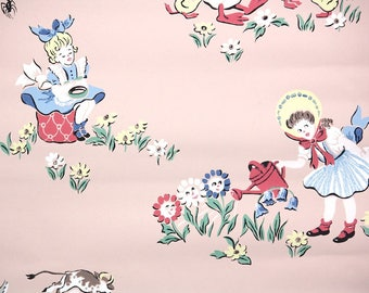 1940s Vintage Wallpaper by the Yard - Childrens Wallpaper Nursery Rhyme on Pink