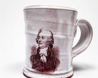 Handmade mug featuring Alexander Hamilton