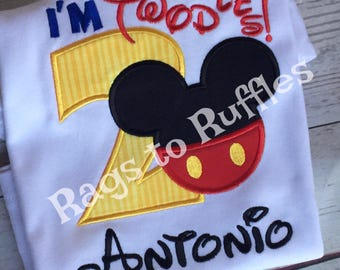 Boy's Birthday Mickey Shirt- Personalized 2nd Birthday Shirt- Mouse Birthday Shirt