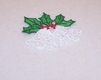 White Christmas bells ornament free standing embroidery