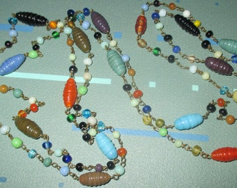 Vintage MOD Multi Color Molded Glass Bead Long Necklace