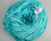Silk CHIFFON Ribbon, Sari Silk ribbon, Chiffon ribbon, Aqua sari ribbon, spinning supply, tassel supply, weaving supply, knitting supply