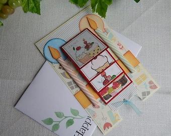 Handmade Birthday Card: waterfall design, cupcakes, multi color, ooak, greeting card, card, complete card, handmade, balsampondsdesign