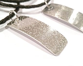 SPECKLES Men's Sterling Silver Necklace Pendant, Gift for Him, Something Different, Casual Necklace Leather Necklace,