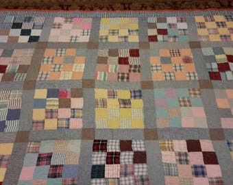 Scrappy Plaids -- Vintage Quilt -- Twin Sized Bed Quilt -- Antique Bed Quilt