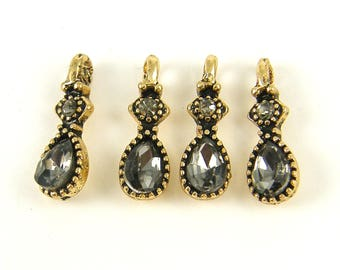 4 pcs Gray Antique Gold Earring Finding Small Gray Teardrop Pendant Dangle Charm Gold Frame Gray Rhinestone Jewelry Component | |4
