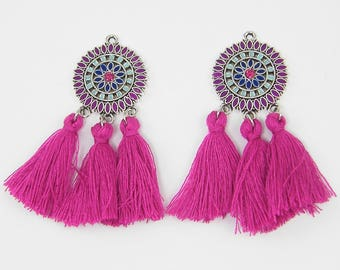 Purple Tassel Earring Findings, Fuschia Medallion Earring Dangles, Magenta Silver Flower Earring Parts for DIY Jewelry | |2