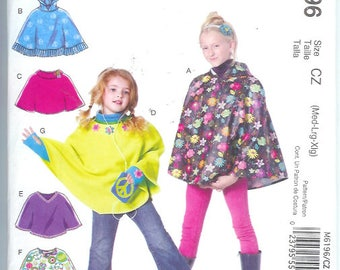 McCalls Childrens Kids  PONCHOS  and Arm WARMERS  Easy   Sewing Pattern M6196 Size  Cz  Med-LRG-Xlg Easy  Uncut