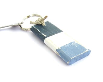 Blue Nautical Keychain, Silver Key Ring, Sailing Key Fob, Gift for Boaters, Unique Nautical Gift, Free Shipping,Ready to Ship