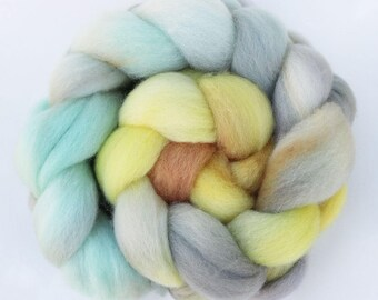 "BFL Wool Combed Top Gradient Ombre Spinning Fiber, 4 oz, ""Strand"" Aqua, Gray, Yellow, and Orange"