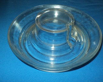 Vintage Clear Glass Bottom Of Chicken Water