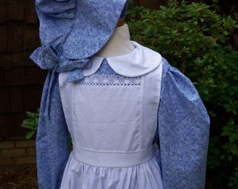 Girls Size 7/8 Pioneer Dress/Laura Ingalls Costume  (Please read full details with measurements)