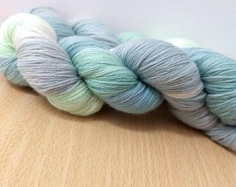 Sea Mist Sock Yarn Super wash Merino/Nylon Sock Yarn Hand Dyed Sock Yarn Green, Blue and Natural Sock Yarn