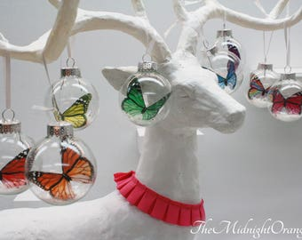 Set of 6 Monarch Butterfly Ornaments in glass - you choose colors - perfect small gifts for teachers, co-workers, etc- Cyber Monday Sale