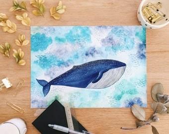 Humpback Whale Giclee Print . Nautical . Watercolour . Art Print . Blue Whale . Nursery Art . Underwater . Ocean Lover . Animal Lover