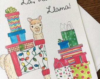 Llama Pun Card. Christmas Card. Fa La La Llama. Set of 10. Funny Card. Holiday Card. Blank Card. Alpaca Card. Non-Religious Card. Xmas Card