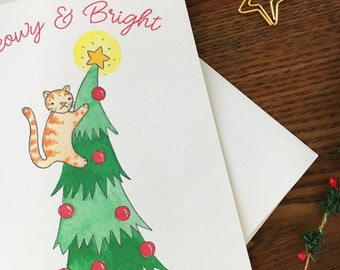 Cat Christmas Card. Cat Pun Card. Set of 10 Cards. Meowy and Bright. Holiday Card. Non Religious Card. Blank Card. Cat Humor. Funny Card