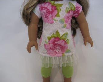 18 Inchl Doll Clothes - Big Flowers Top and Leggings made to fit dolls such as the American Girl and Maplelea doll clothes