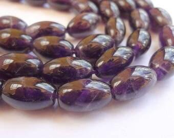 8 x 14mm Rice Natural Amethyst Semi Precious Gemstone Beads - Half Strand ,15pcs