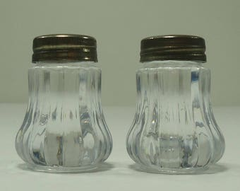Sweet Little Clear Plastic Salt And Pepper Shakers With Metal Lids