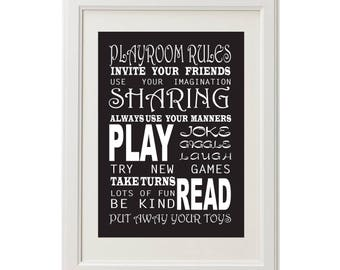 Playroom Rules Digital Print - Choose your colour