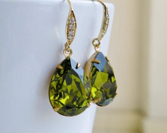 Summer Sale Swarovski Earrings Olivine Green Foiled Pear Stone Gold Filled