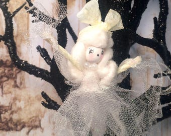 Ghastly ghost girl vintage retro inspired off white ghost halloween ornament apparition ghost doll ghost ornament