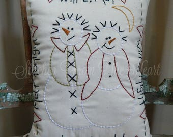 Snowman Couple Decorative Pillow - Hand Embroidered Pillow - Decorative Throw Pillow - Christmas In July - Winter Decor