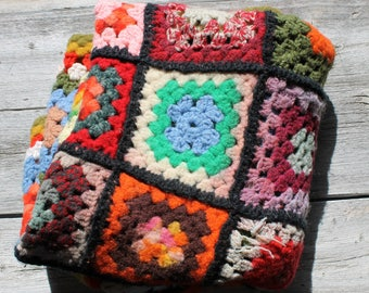Vintage Felted Modern Artwork (not really, but could be) Crochet Afghan, multicolored
