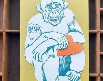 Chimp letterpress card