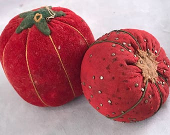 Pair of Vintage Tomato Pin Cushions