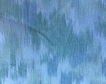 3 Yards of Vintage Green and White Abstract Print Cotton Fabric