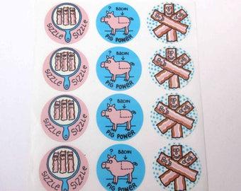 Vintage Eureka Bacon Scratch 'n Sniff Stickers on Sheet Pig Breakfast Sizzle