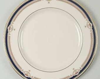 Buchanan by LENOX Dinner Plate, Discontinued 1985 - 1999 - Beautiful China! Presidential, Cobalt & Tan Scrolls