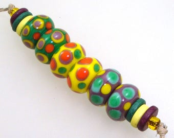 Handmade Lampwork Glass Beads - 3 pairs. Stacked dots on kelly green, lemon yellow & purple violet. Earring pairs, summer tropical.