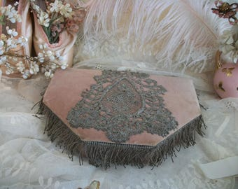 antique velvet and lace jewelry box with roses silk lining, metallic bullion trim, tattered well worn elegance