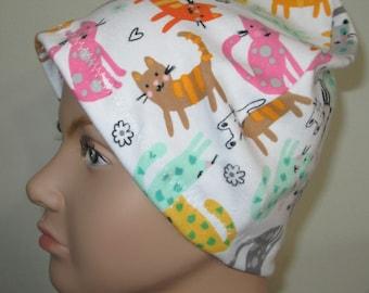 Kid's Chemo Hat  Cutie Pie Cats Children's Cancer Cap, Alopecia, Sleep Cap