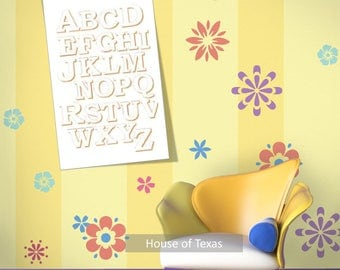 Alphabet in outlined Orange round font on white background nursery wall print, would be great addition to any nursery or toddler's room.