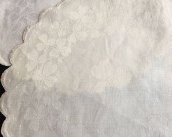 Vintage Irish Linen Doilies with Clovers