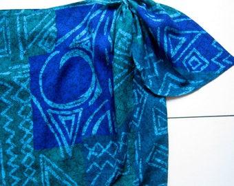 Vintage Judy Knapp Wrap Skirt - 1970's, Batik, Short skirt, Sarong, Tropical skirt, Summer skirt, Blue and green, Tribal, 100% Rayon, Size 7