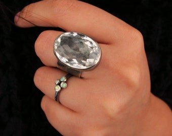 Statement ring / Rustic jewelry / Raw Sterling silver / Cubic Zirconia / Size 8 / Silver ring / Gift for her /  Handmade jewelry / Keepsake