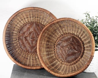 Round Woven Nesting Baskets, Southwestern Diamond Motif, stacking straw basket set of 2, Bohemian Style