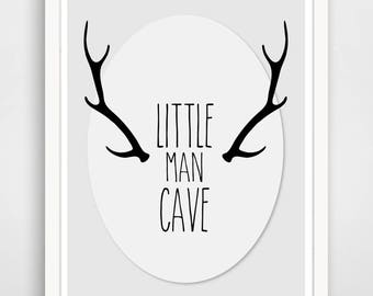 Man Cave - Little Man Cave - Kid Print - Nursery Art - Boy's Room - Antlers - Woodland Nursery