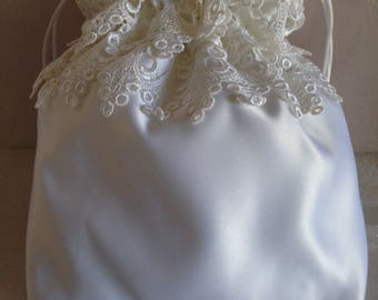 WEDDING CARD BAG, Drawstring, White Double Lace, Heirloom/Keepsake bag, Money bag